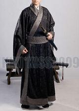 China Han Fu Men's Festival Black Brocade&Cotten Traditional Robe Custom Made