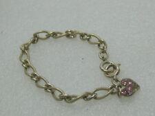 "Vintage Charm Bracelet Rhinestone Heart Charm, Pink, 7"", 6.5mm Wide, 1980's"