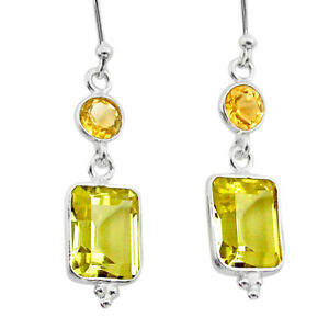 Halloween Sale 8.51cts Natural Lemon Topaz Citrine Silver Dangle Earrings T30206
