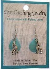 Fashion Earrings -Made with Fishing Lures- coyote charms - turquoise
