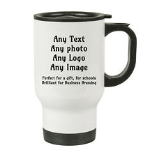 Personalised White Travel Cup Mug idea gift for christmas-Any image,logo & text