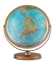 "Atlantis Blue Desk Globe Physical Features Raised Relief Full Meridian Gyro 12"""