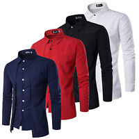 Mens Long Sleeve T-Shirt Slim Fit Tops Casual Front Button Suit Shirts Business
