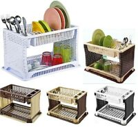 2 TIER RATTAN MODERN DISH DRAINER,CUTLERY HOLDER,FOLDING RATTAN PLASTIC KITCHEN