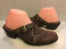 Womens CLARKS ARTISAN CLOGS MULES SLIDES SIZE 8M BROWN LEATHER STYLE 73304
