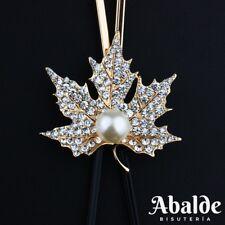 Collar Maxi Mujer Diseño Hoja De Arce y Perla Bijoux Color Oro Regalo ideal