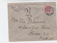 sweden 1920 postage to pay  stamps cover to london ref r15458