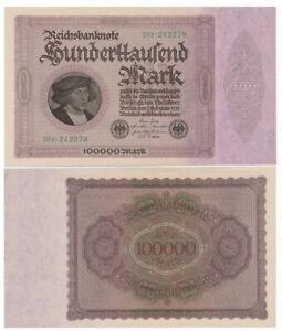 1oo.ooo Marks German banknote issued in 01.02.1923 1op aunc