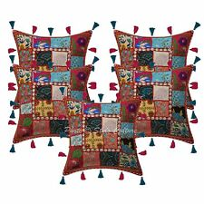 """16"""" Indian Kodi Tassels Patchwork Throw Pillowcases Ethnic Cotton Cushion Covers"""