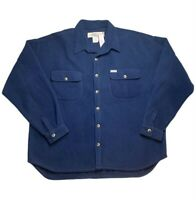 Vintage No Fear 90s Fleece Button Up Collared Jacket Rare Blue Mens Large