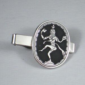 Swank Mens Tie Clip Silvertone Lord of Dance Nataraja Goddess Hindu Gray