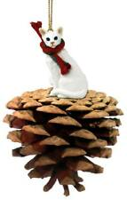 White Oriental Shorthaired Cat with Pinecone Pet Ornament
