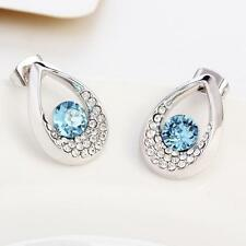 New Silver Stud Earrings with Blue Drop-shaped Crystals from Swarovski Jewelry