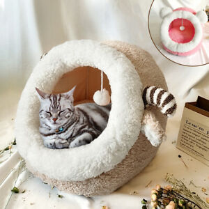Cat Bed for Indoor Cats Cave Bed Small Puppy Dog Comfy Fleece Igloo Sleep Kennel