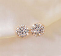 New Fashion Women Lady Elegant circle Crystal Rhinestone Ear Stud Earrings