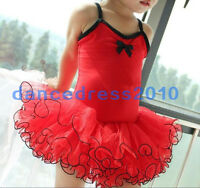 New Red Girls Party Leotard Ballet Costume Tutu Skirt Dance Skate Dress Size 3-8
