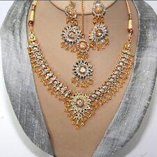 Schmuckset Collier Ohrringe Tikka Gold Weiß Bollywood Party Brautschmuck