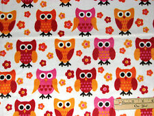 Hoot Owl Minky Minkee Pink & Orange Benartex Fabric  by the FAT 1/2 Yard  #5120