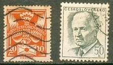 2 TIMBRES OBLITERES ANCIENS TCHECOSLOVAQUIE