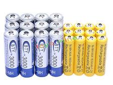 12 AA BTY 3000mAh + 12 AAA 1800mAh NiMH Yel batería recargable RC Reloj MP3