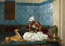 Huge oil painting Gerjme Jean-Leon Arab portrait smoking man with his pet dog