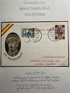 1937 Huelva Spain Civil War Patriotic Postcard Cover Colonel Jose Moscardo