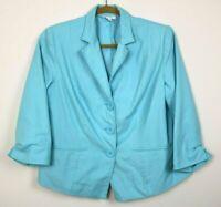 Dressbarn Womens Blazer Long Sleeve Lined Pockets Buttons Blue Size 18 EUC