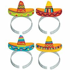 FIESTA MEXICAN SOMBRERO HEADBANDS PARTY DRESS UP DECORATION FOR 8 GUESTS