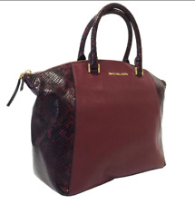 Michael Kors Riley Purse Python Embossed Red Merlot Oxblood Leather Satchel