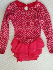 New listing Jerry'S~girl' s~Skating Dance Leotard (Youth 8 10) red silver glitter