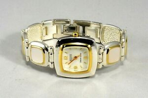 Ecclissi 925 Sterling Silver Gold Tone Mother Of Perl Women Watch New Battery