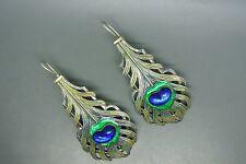 Vintage Antique Piel Freres green enamel blue glass peacock eye feather earrings