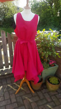 Handmade ruched Alice dress in cerise pink size 10