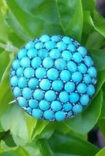 Persian Turquoise Silver Brooch  Antique Estate Jewelry Ladies