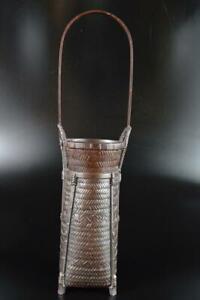 L1173: Japanese Casting copper Wickerwork/Ajiro-shaped FLOWER VASE Ikebana