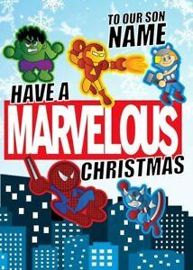 Personalised Iron Man/Hulk/Spiderman/Thor/Avengers Christmas Card