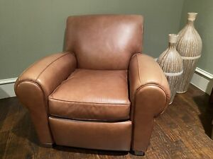 *POTTERY BARN MITCHELL WILLIAMS BROWN LEATHER RECLINER CHAIR DALLAS $1399*