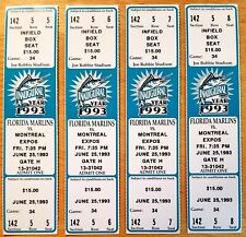 Florida Marlins Ticket Stub From June 25,1993 vs Montreal Expos Inaugural