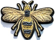 Bee Velvet Beaded Gold Embroidered Iron On Patch Applique Vintage Crafts Quality