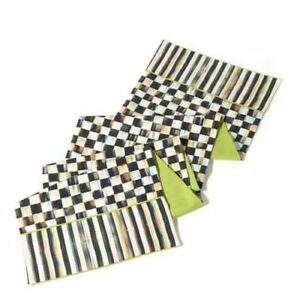 """NEW ~ MACKENZIE CHILDS B&W COURTLY CHECK & STRIPE 72"""" TABLE RUNNER COTTON"""