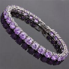 26X6Mm Round Cut Purple Amethyst 18K White Gold Plated Dainty Tennis Bracelet