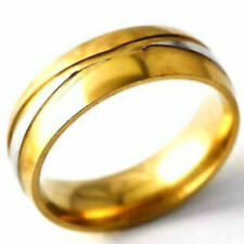 Gold Fashion Cheap Jewellery Size 8 Mens Rings Womens Ring 2-Tone Band Ring