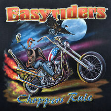 Vintage 90s EASYRIDERS Motorcycle Magazine Choppers Rule T SHIRT  L Very Rare