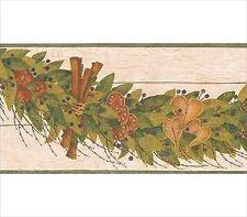 Folk Art Dried Leaf Swag Green Wallpaper Border HA6110-2B