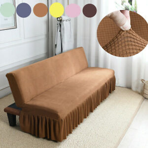 Futon Sofa Bed Stretch Lace Slipcover Armless Folding Couch Cover Living Room