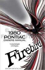 1980 Firebird Turbocharged V8 Owners Manual Supp Pontiac Formula Trans Am Turbo