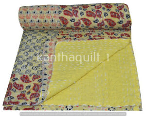 Indian Patchwork Double Kantha Handmade Quilt Cotton Bed Cover Throw