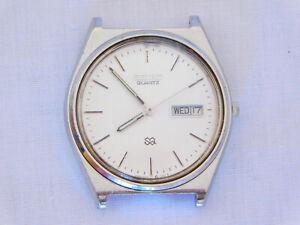 Vintage 1988 Seiko SQ Quartz 5Y23-7120 Day Date Stainless Wristwatch