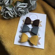 Mustard Bow Set Autumn Bow Set Gift Set Felt Bows Baby Bow Fringe Clip Set Of 3