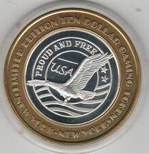 2002 New York NY Celebrating USA Proud & Free .999 Fine Silver $10 Casino Token